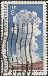 8-cent U.S. postage stamp picturing Old Faithful