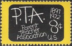 Yelow and black 8-cent U.S. postage stamp picturing chalkboard