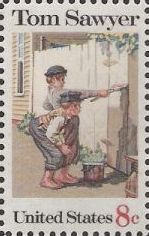 8-cent U.S. postage stamp picturing Tom Sawyer whitewashing fence