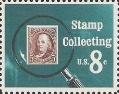 8-cent U.S. postage stamp picturing magnifying glass and 5-cent Benjamin Franklin stamp