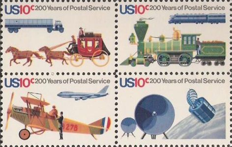 Block of four 10-cent U.S. postage stamps picturing forms of mail transportation and satellites