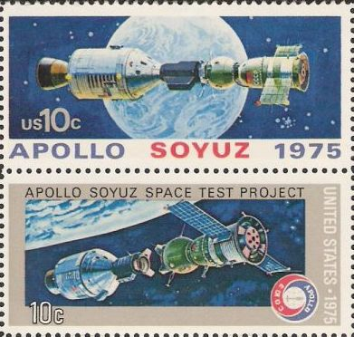 Pair of 10-cent U.S. postage stamps picturing Apollo and Soyuz spacecraft