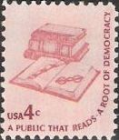 Pink 4-cent U.S. postage stamp picturing books