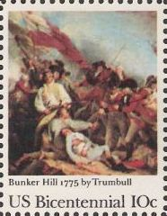10-cent U.S. postage stamp picturing Trumbull's Bunker Hill painting