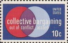 10-cent U.S. postage stamp picturing intersecting circles