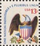 13-cent U.S. postage stamp picturing eagle and shield