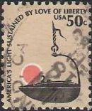 50-cent U.S. postage stamp picturing lamp