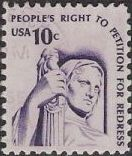 Purple 10-cent U.S. postage stamp picturing sculpture of Justice