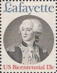 13-cent U.S. postage stamp picturing Marquis de Lafayette
