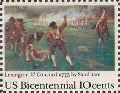 10-cent U.S. postage stamp picturing Sandham's Lexington & Concord painting