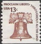 Brown 13-cent U.S. postage stamp picturing Liberty Bell