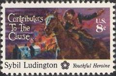 8-cent U.S. postage stamp picturing Sybin Ludington on a horse