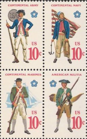 Block of four 10-cent U.S. postage stamps picturing Revolutionary War-era soldiers and sailors