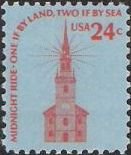 Red and blue 24-cent U.S. postage stamp picturing Old North Church in Boston, Massachusetts