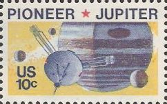 10-cent U.S. postage stamp picturing Pioneer and Jupiter