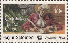 10-cent u.S. postage stamp picturing Haym Salomon writing with quill pen