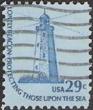 Blue 29-cent U.S. postage stamp picturing Sandy Hook Lighthouse in Jew Jersey