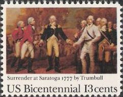 13-cent U.S. postage stamp picturing Trumbull's Surrender at Saratoga painting