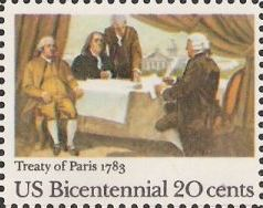 20-cent U.S. postage stamp picturing Treaty of Paris painting