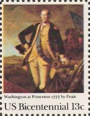 13-cent U.S. postage stamp picturing Peale's Washington at Princeton painting