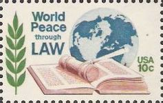 10-cent U.S. postage stamp picturing globe, gavel, and book