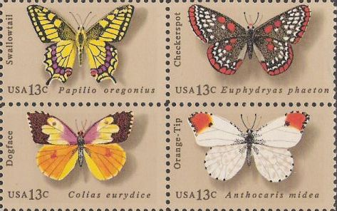 Block of four 13-cent U.S. postage stamps picturing butterflies