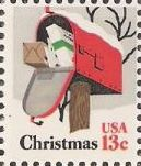 13-cent U.S. postage stamp picturing mailbox full of packages