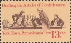 13-cent U.S. postage stamp picturing negotiators drafting Articles of Confederation
