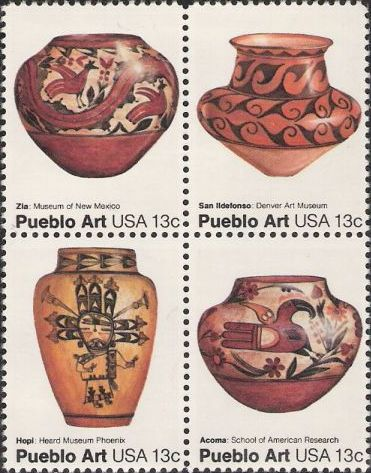 Block of four 13-cent U.S. postage stamps picturing Pueblo pots