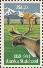 20-cent U.S. postage stamp picturing moose and mountains