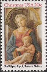 20-cent U.S. postage stamp picturing Fra Filippo Lippi's Madonna and child painting