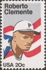 20-cent U.S. postage stamp picturing Roberto Clemente