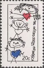 20-cent U.S. postage stamp picturing stick figures