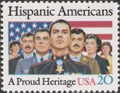 20-cent U.S. postage stamp picturing Hispanics and American flag