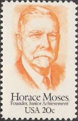 Orange 20-cent U.S. postage stamp picturing Horace Moses
