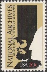 20-cent U.S. postage stamp picturing silhouettes of Abraham Lincoln and George Washington