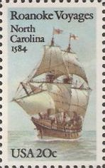 20-cent U.S. postage stamp picturing ship