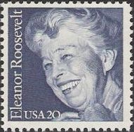 Blue 20-cent U.S. postage stamp picturing Eleanor Roosevelt