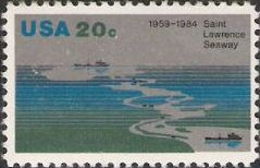 20-cent U.S. postage stamp picturing Saint Lawrence Seaway