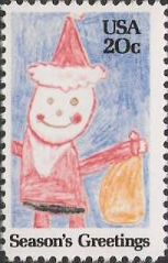 20-cent U.S. postage stamp picturing crayon drawing of Santa Claus