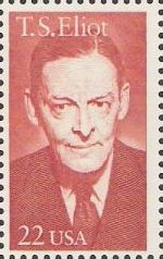 Red 22-cent U.S. postage stamp picturing T.S. Eliot