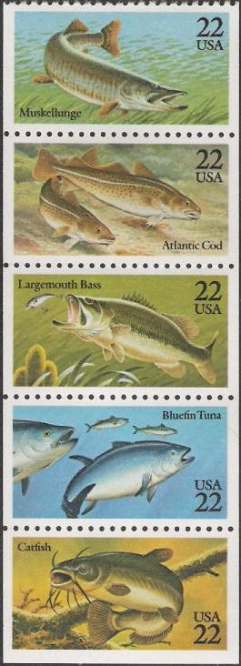 Booklet pane of five 22-cent U.S. postage stamps picturing fish