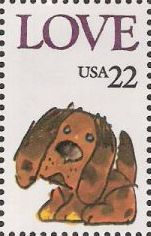 22-cent U.S. postage stamp picturing dog