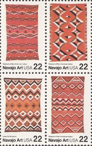 Block of four 22-cent U.S. postage stamps picturing Navajo blankets