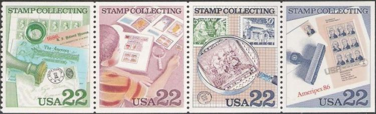 Booklet pane of four 22-cent U.S. postage stamps picturing stamps
