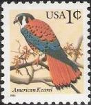 1-cent U.S. postage stamp picturing American kestrel