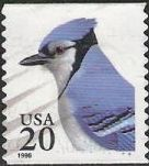 20-cent U.S. postage stamp picturing blue jay