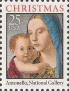 25-cent U.S. postage stamp picturing Antonello's Madonna and child painting