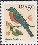 3-cent U.S. postage stamp picturing eastern bluebird