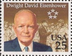 25-cent U.S. postage stamp picturing Dwight David Eisenhower